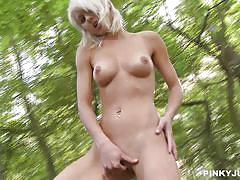 Blonde goddess in the wood