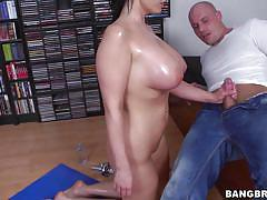 Babe with big tits rubbing her pussy