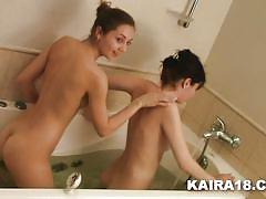 teen, bathroom, lesbians, brunette, bathing, kaira 18, kaira x