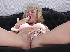 Horny blonde mature woman masturbating