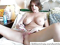 pussy, tits, boobs, milf, brunette, mature, busty, mom, mother, older, shaving, shave, bald, dirtytalk