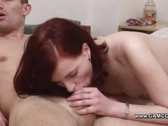 Cuckold sit while his german girlfriend fuck for money