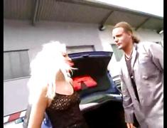 Hot blonde fucking in parking