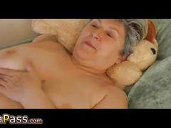 Omapass granny masturbating hairy pussy with toy and granpa