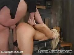 With toy in her ass she gets pussy fucking