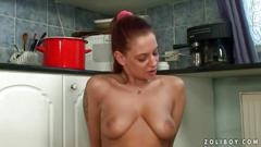 Naughty amateurs fucking and pissing in the kitchen