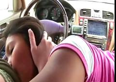 Pussy licking while driving