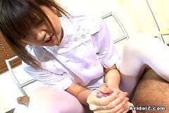 Horny japanese nurse giving a hot handjob