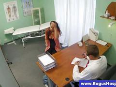 Brunette babe sucks her doctor cocks