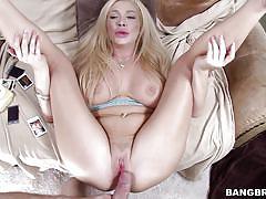 Filthy blonde tastes the sperm off her vagina