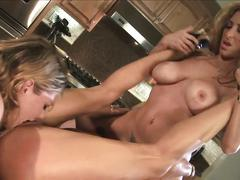 babe, big tits, blonde, brunette, threesome, lesbian, pornstar, pussy, toys, milf, hd, kayla quinn, michelle le, savannah jane, 3some, beauty, bottle, brown hair, busty, eating pussy