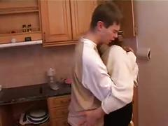 Stepmom & stepson have a sex on the kitchen