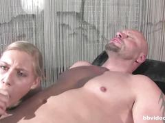 Bbvideo.com tattooed blonde babe takes two dicks