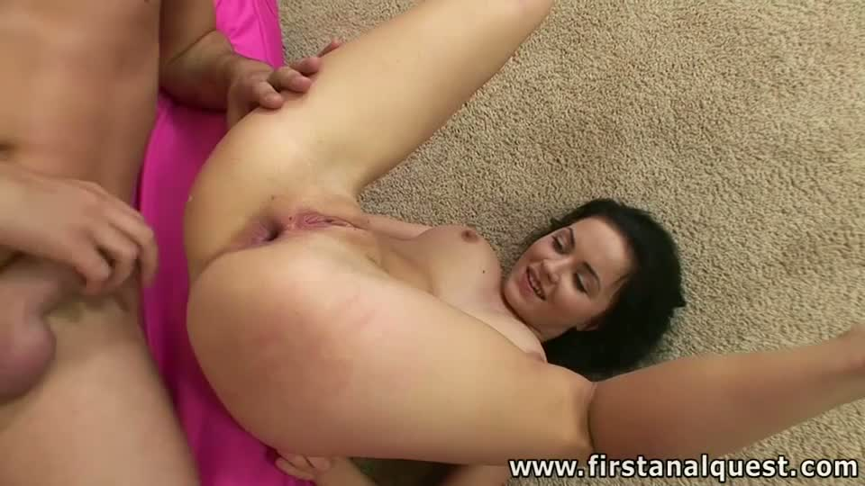 Busty first-timer gets a huge unit shoved up her ass