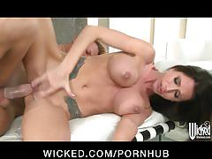 Big-boobed brunette milf randi wright teases her bf for hard dick