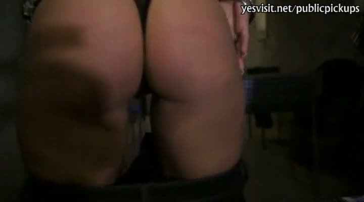 Horny blonde slut flashes her round ass and analyzed