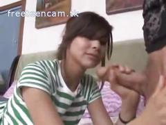 Boyfriend get jerked of cute teen