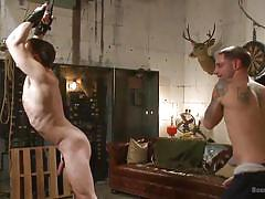 tattoo, whip, hanging, gay bondage, gay blowjob, gay domination, tied hands, ass grabbing, sex dungeon, bound gods, kink men, doug acre, jay rising