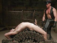 whip, cock torture, gay handjob, gay blowjob, gay domination, leather costume, device bondage, gay executor, sex dungeon, bound gods, kink men, connor maguire, dylan knight