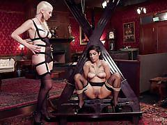 whip, lesbian domination, training, busty milfs, sexy lingerie, device bondage, ass grabbing, bondage box, rope bondage, the upper floor, kink, bill bailey, lorelei lee, adley rose