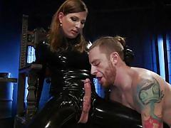 tranny, domination, big cock, blowjob, sex slave, transsexual, brunette, tattooed, face fucking, latex suit, ts seduction, kink, jamie french, sebastian keys