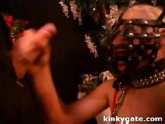 Chained slave girl treated like a dog