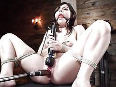 orgasm, bdsm, babe, solo, domination, vibrator, brunette, dungeon, gagged, rope bondage, fuck machine, fucking machines, kink, keira croft