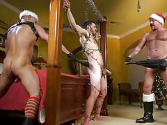 Hot christmas threesome with kinky bdsm
