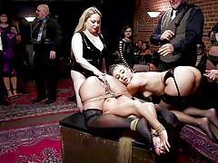 Two beautiful babes were brutally punished and fucked on the upper floor