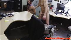 Muscular pawnbroker rides pawnees hard cock