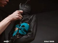 submissive, babe, mask, fetish, brunette, cock sucking, gimp, straight jacket, sexually broken, eden sin, jesse dean