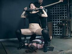 bdsm, pissing, lesbians, babe, bound, device bondage, rope bondage, piss fetish, torturing, leather straps, real time bondage, mia torro