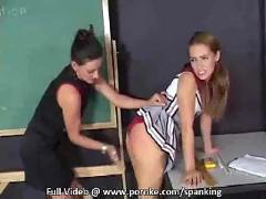 Girl gets her panties pulled aside and spanked