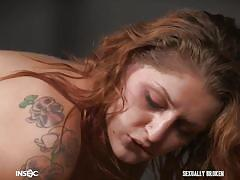 bdsm, big ass, redhead, big cock, face fuck, tattooed, device bondage, plastic wrap, sexually broken, fallon west, jesse dean