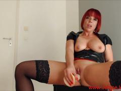 Hot redhead fetish lady masturbate with a big dildo