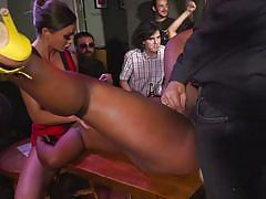 bdsm, babe, ebony, interracial, busty, pussy licking, bubble butt, butt plug, from behind, sex slave, on table, public disgrace, kink, tina kay, steve holmes, sunny star