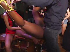 Ebony babe was fucked in public