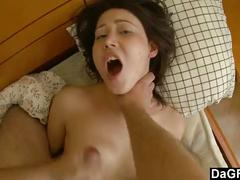 Young brunette wants her first rough anal sex in motel.
