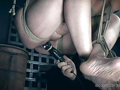Completely naked, bound and helpless