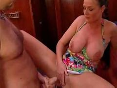 Milf and her slave assfuck on a boat
