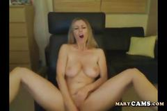 Amateur blonde girl plays with her dildo on webcam