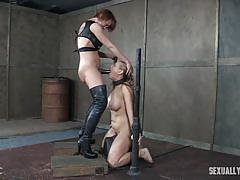 milf, blonde, threesome, deepthroat, domination, chained, big breasts, device bondage, starp on, sexually broken, angel allwood, sergeant miles, dee williams