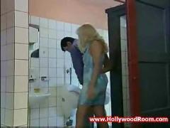 Horny wife fucks stranger in public toilet