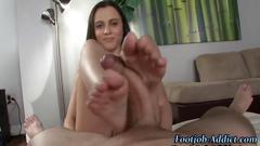 Pretty nerd girls feet get a cumshot