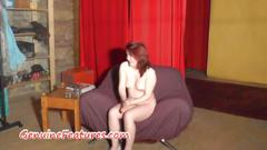 Exotic teen showing her chubby body at the casting