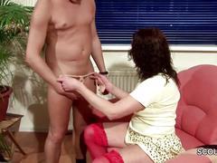 German step-son seduce step-mom to get first fuck
