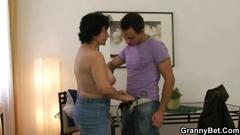 Granny gets to be fucked in her wet pussy