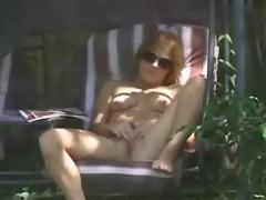 Caught my elder sister masturbating in garden. hidden cam