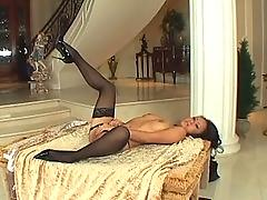 Petite asian sex in seamed stockings and stilettos