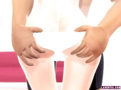 3d babe gets to be the one to suck the dick